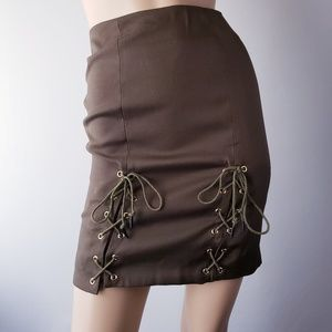 Loveriche Olive Green Lace Up Skirt
